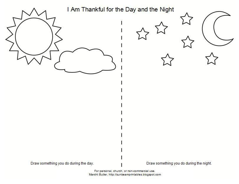 I Am Thankful For The Day And Night Day For Night Coloring Pages Worksheets For Kids