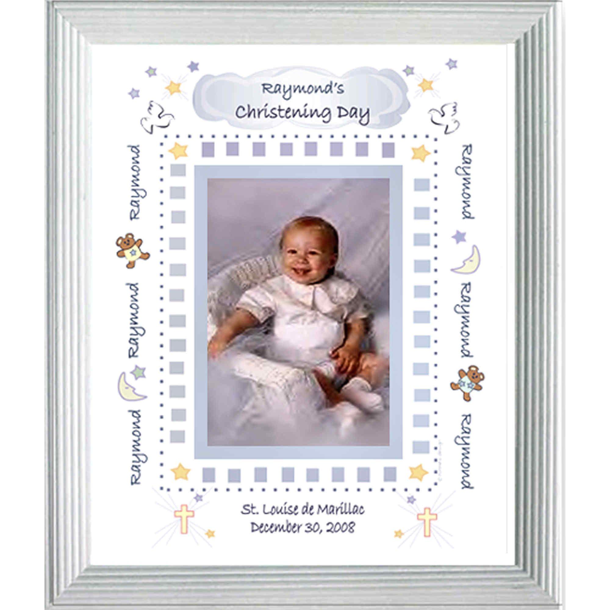 Baby Boy Baptism Christening Frame