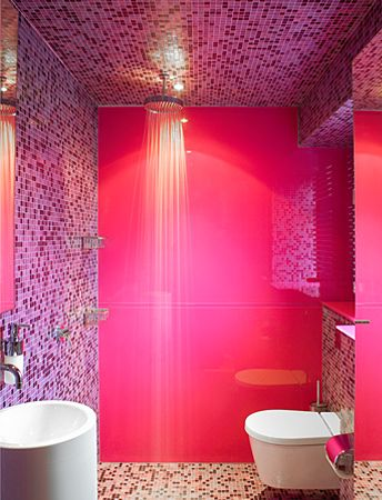 Sweet Pink Bathroom Deisgn With Pink Wall Colour Pink Tiles And Simple Shower Lighting