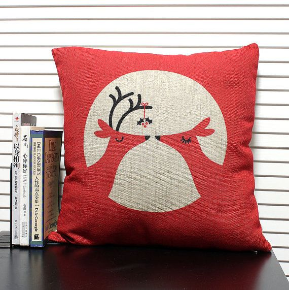 Cuscini Rossi Natalizi.Cotton Linen Fabrics Red Shade Pillow Christmas Deer Pillow Cover