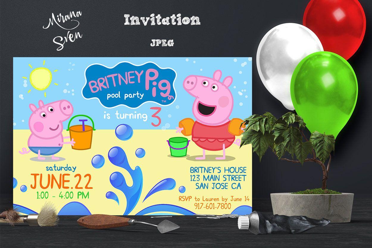Peppa Pig Invitation - Peppa Pig Summer Party Invitation - Peppa Pig ...