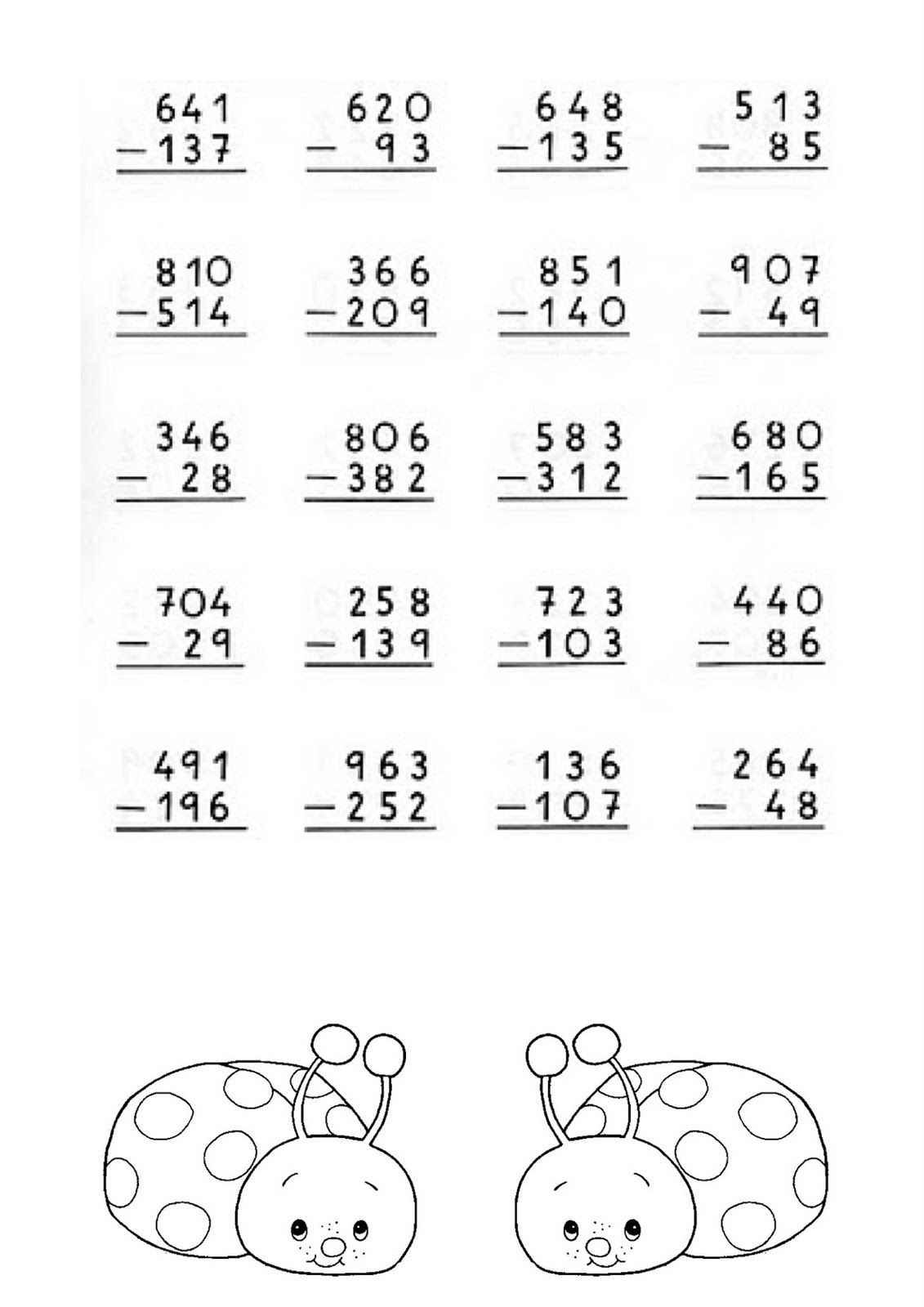 Foto Restas Con Llevada 2 Actividades De Resta Ejercicios De Calculo Matematicas Tercero De Primaria