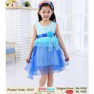 ac97bbc46cca Designer Summer Dress for Baby Girl - Blue Net Wedding Dress for Toddler