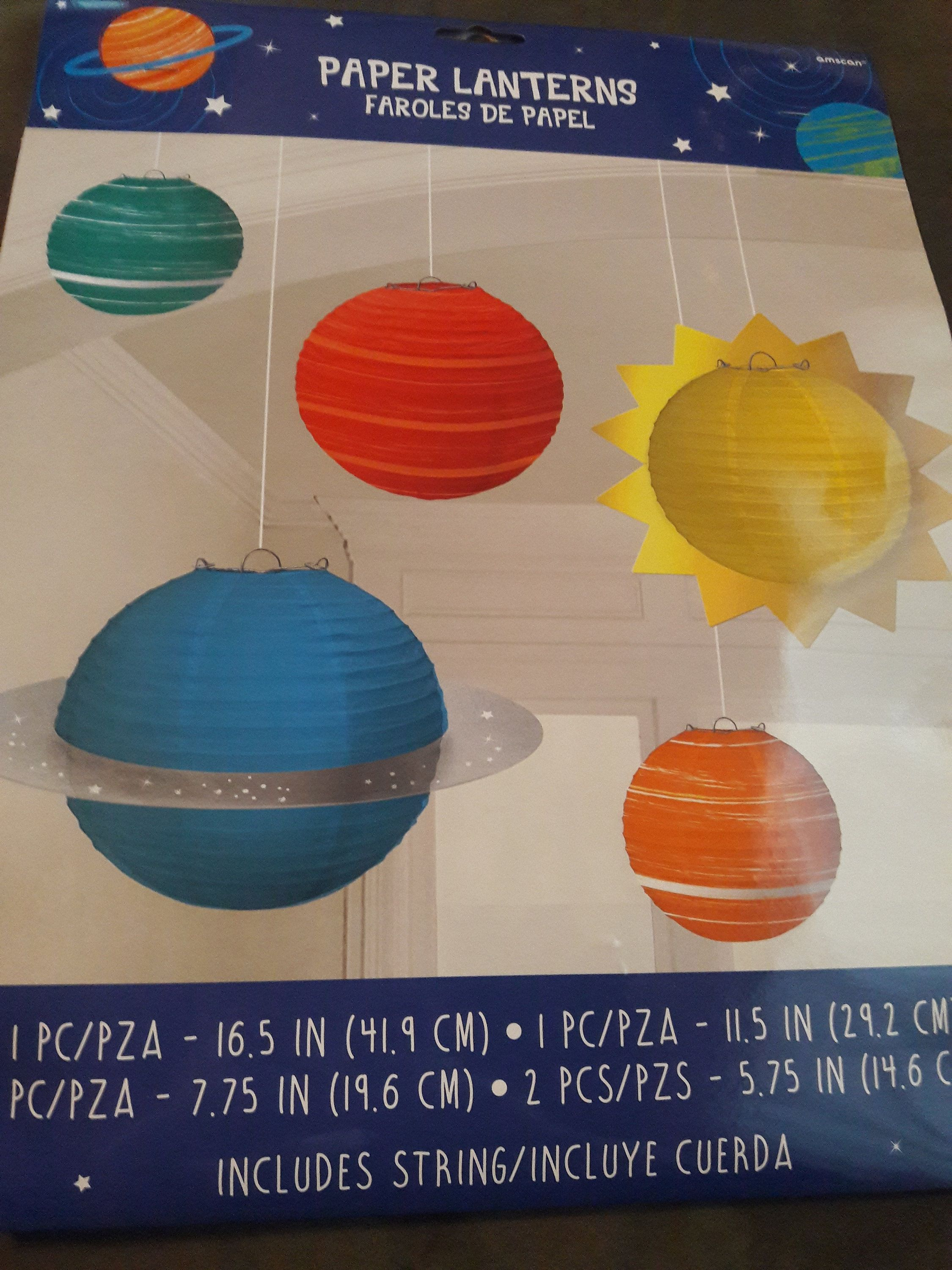 Outer space paper lanterns; space theme party hanging decorations; celestial birthday; baby shower devor; astronauts theme party decorations