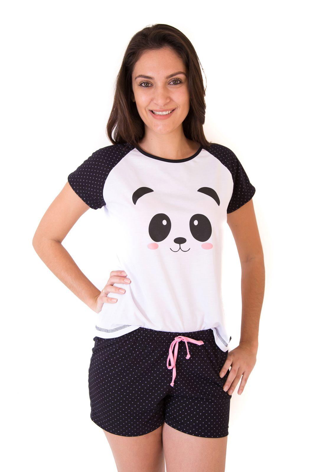 f24a70cbb43266 Pijama de Panda Feminino Adulto Curto com Shorts - Mania Pijamas em ...