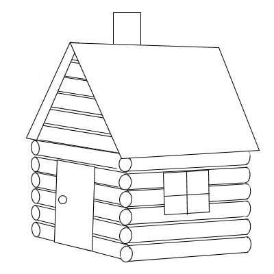 Log Cabin Coloring Pages Kidswoodcrafts House Colouring Pages