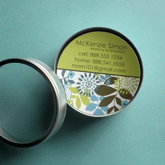 McKenzie (Mod Floral) 50 CUSTOM Calling Cards/ Business Cards/ Tags in Tin