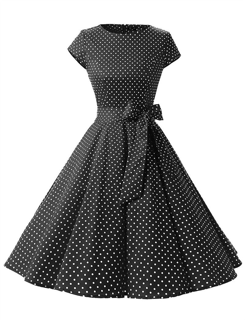 Vintage Polka Dot Dress Women Summer Short Sleeve Belted Rockabilly Casual Party Dress Black Small Dot In 2021 Vintage Dresses Vintage Polka Dot Dress Summer Dresses For Women [ 1043 x 800 Pixel ]