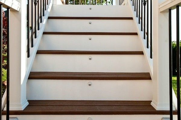 Trex Deck Stair Riser Lights In Mchenry County Built By Rock Solid Trex Deck Deck Stairs House Front