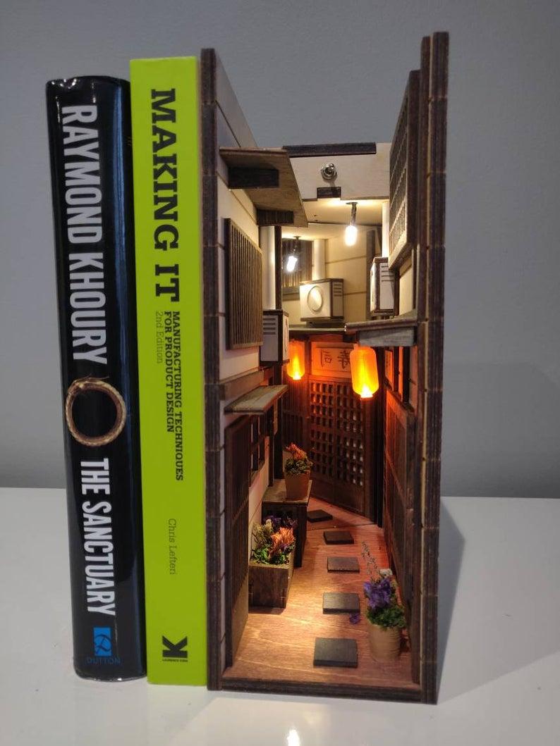 Old Town Japan Miniature Diorama Bookend Booknook Shelf Insert Etsy Book Nooks Miniature Books Bookshelf Art