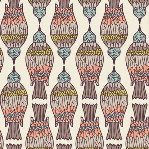 Birds Peck in Dahlia by Bobbie Lou's Fabric Factory