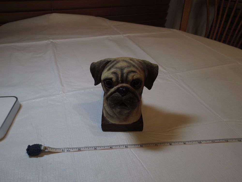 Pug Dog Head Door Stopper Vintage Rare Resin Stop Doggy Puggy