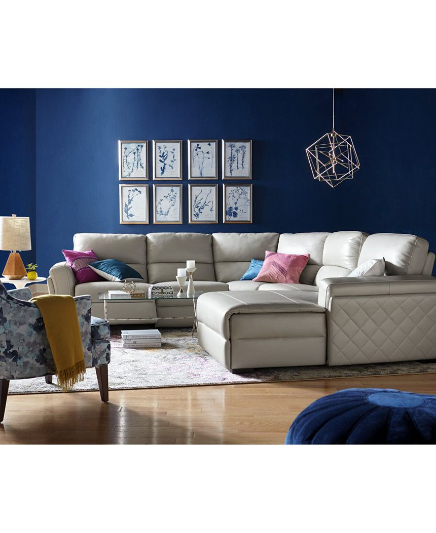 Jessi 6-pc Leather Sectional Sofa with Chaise & Center Console