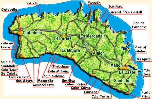 picture map Menorca Pinterest Menorca