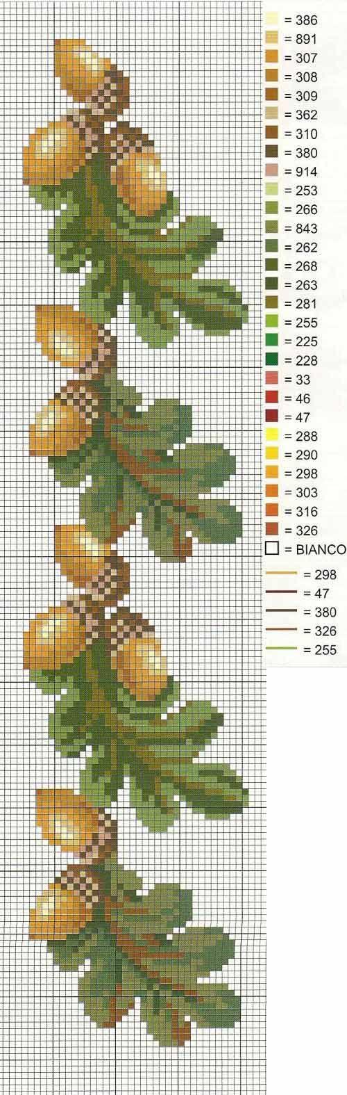 Вышивка крестом листья схемы бесплатно