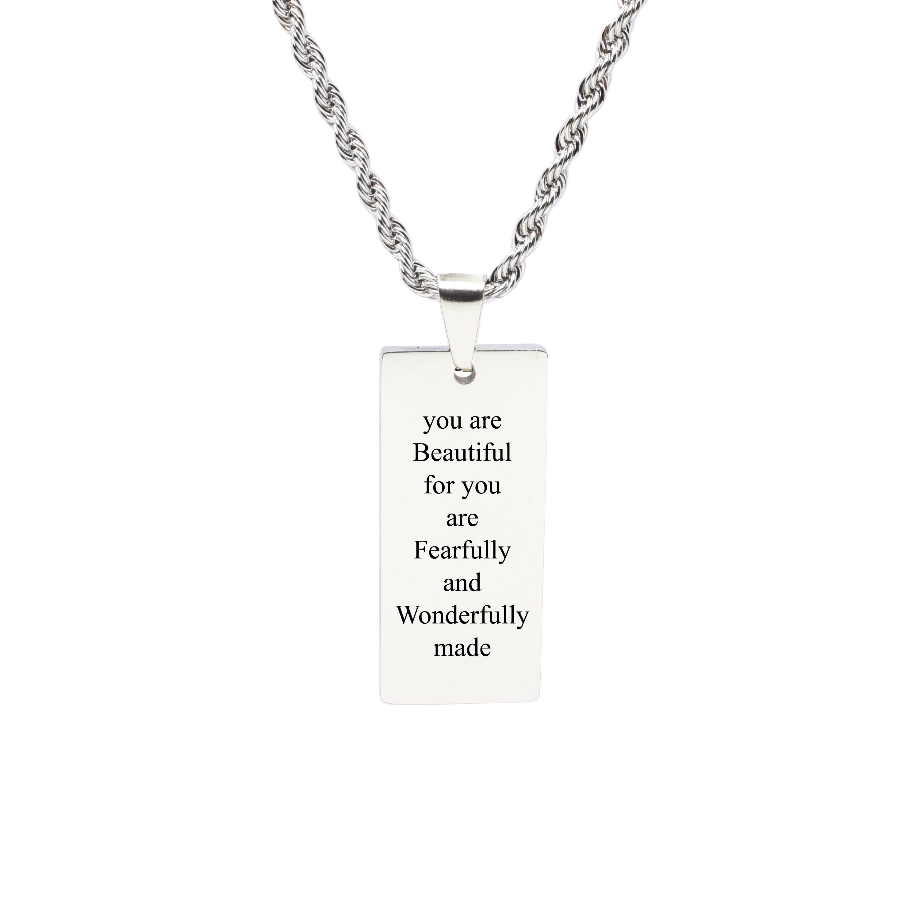 Rectangle inspirational tag necklace wonderfully made products