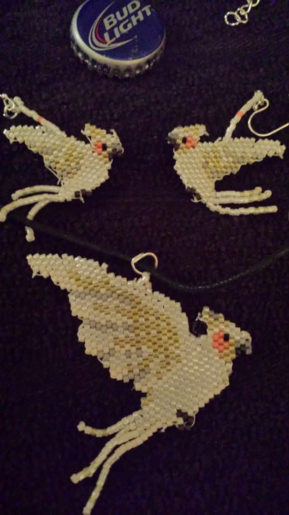 Lutino Cockatiel Hand Beaded Earrings and Necklace Set
