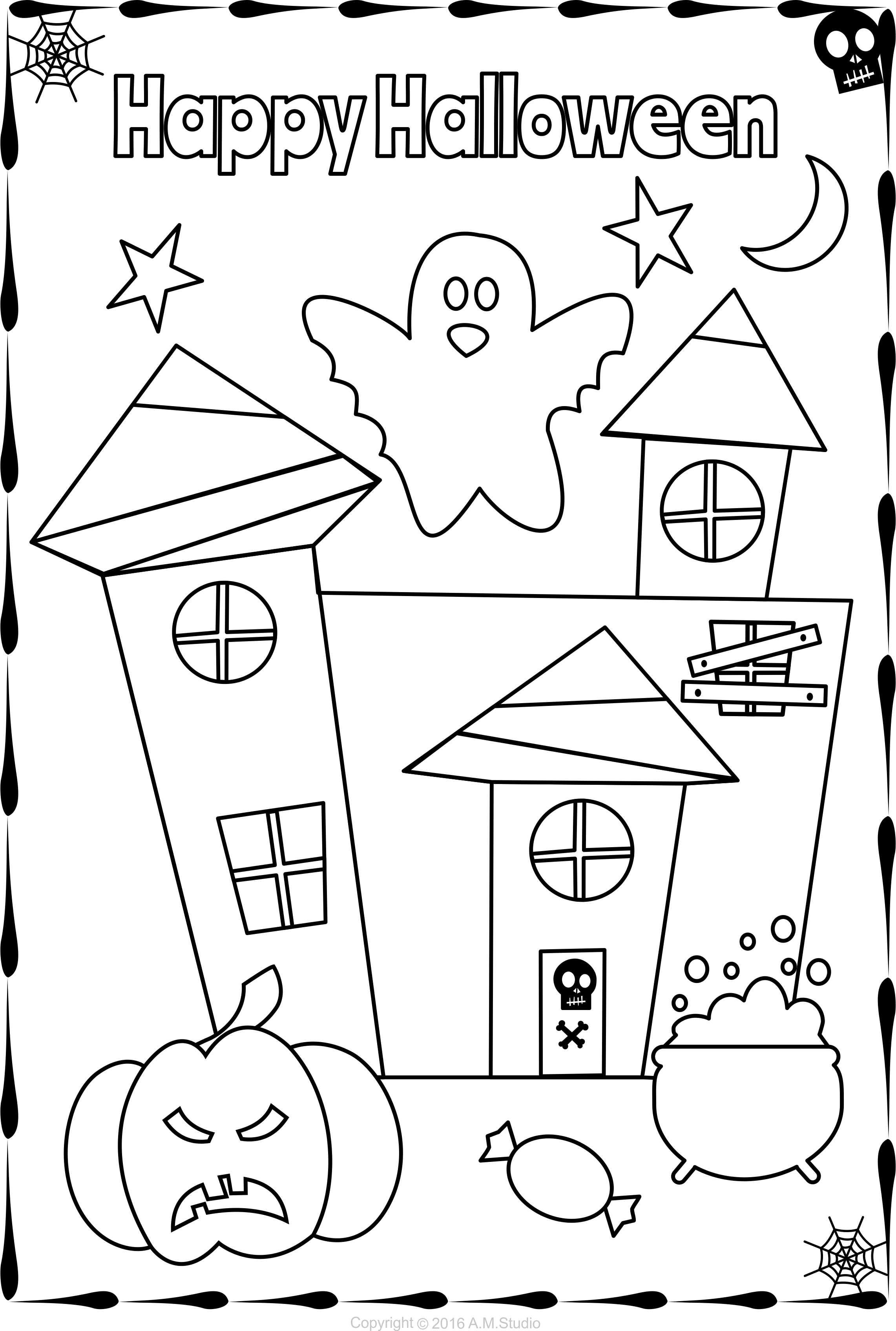 13 Halloween Themed Coloring Pages For Kids