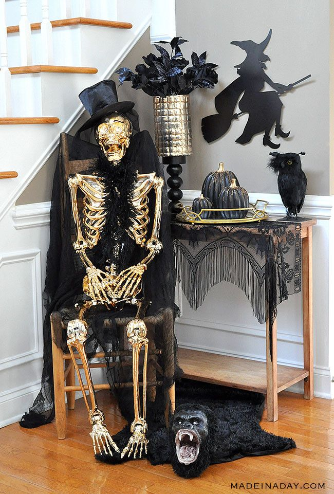 Gold And Black Beaded Pumpkins Haunted Entryway Tour Fall