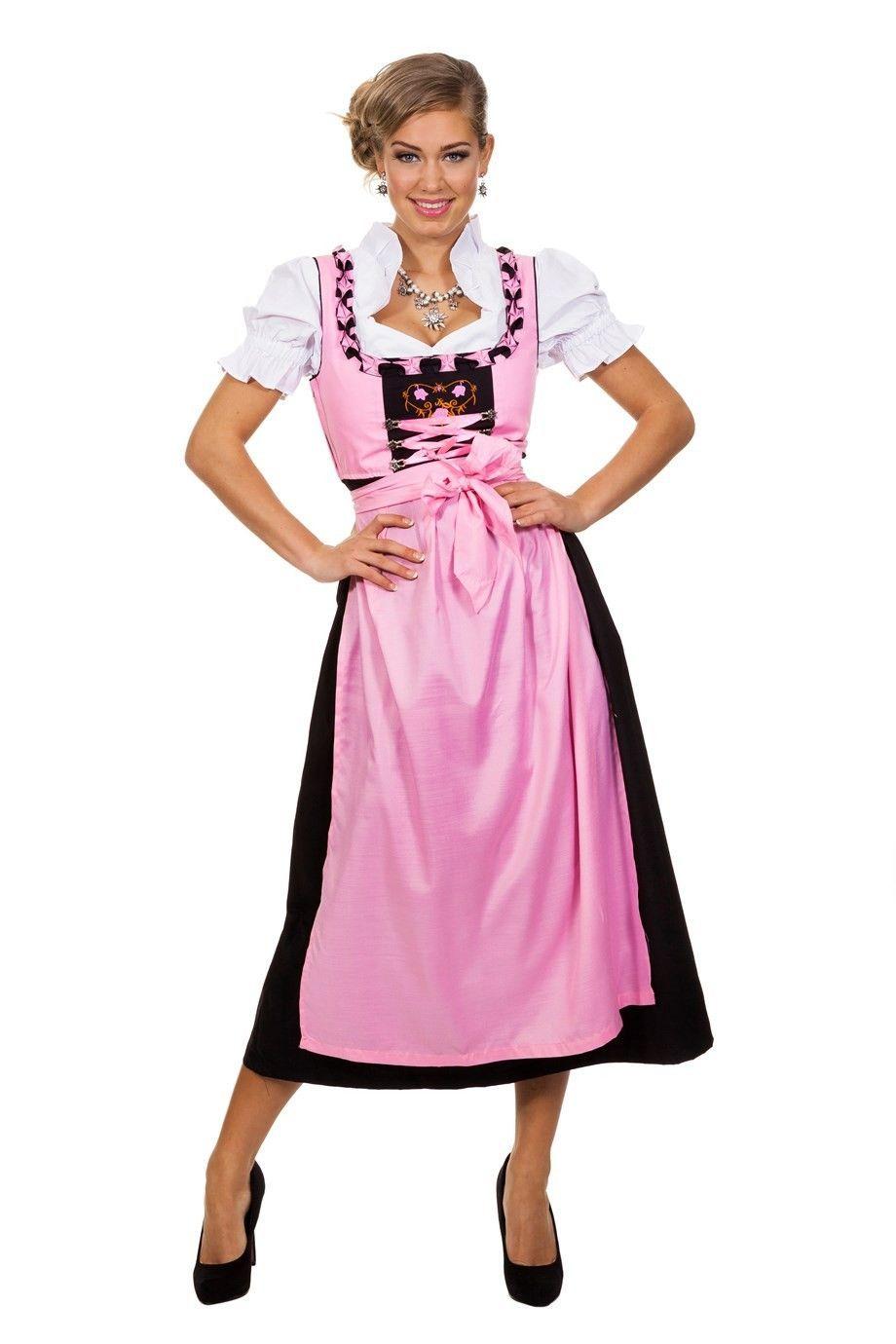 72c650c793e Dirndl jurk roze in lange uitvoering bestaande uit jurk, schort en ...