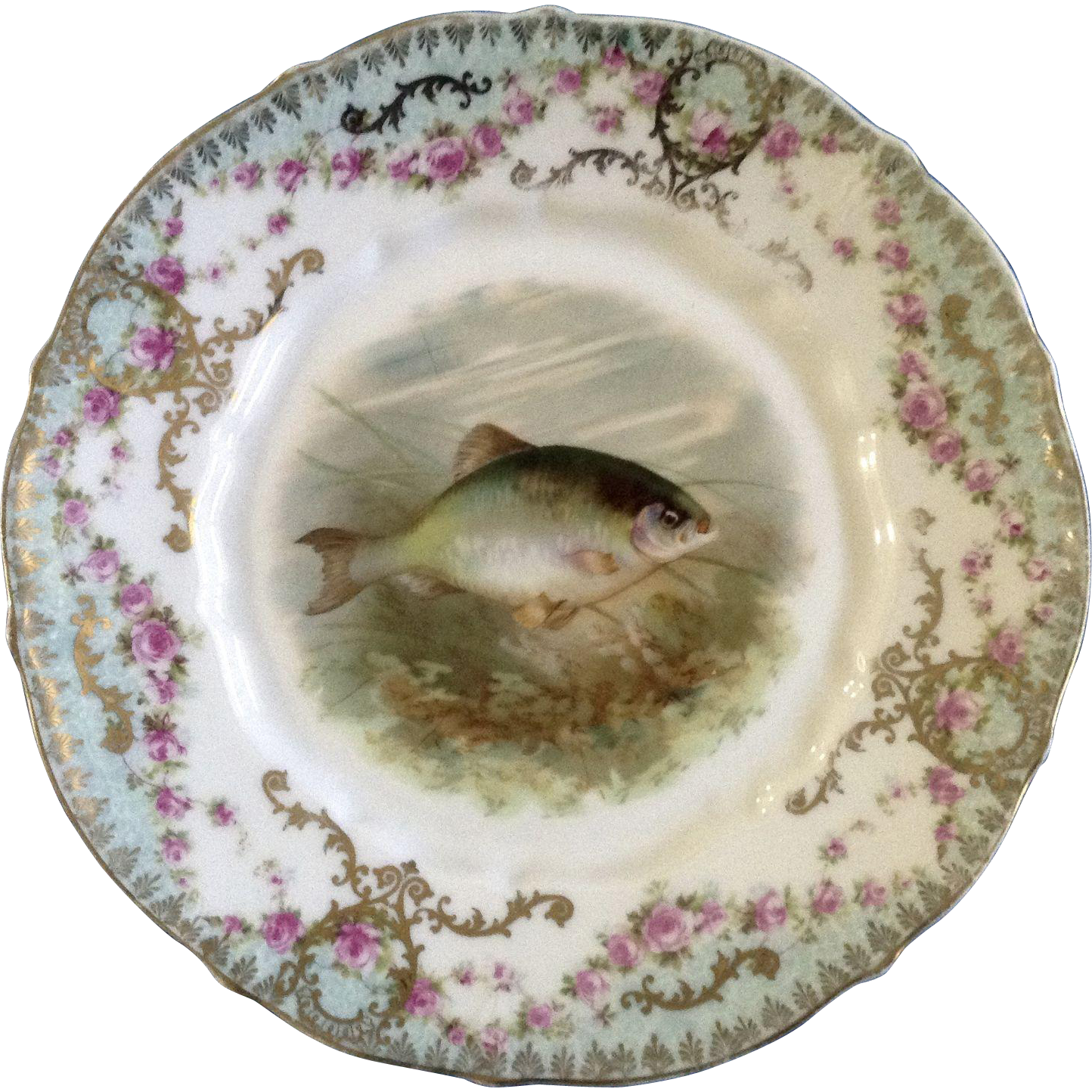 Antique Carl Tielsch Fish CT Germany Porcelain Luncheon Plate 8-1/2  Hand Painted Gold Trim 1900-1909  sc 1 st  Pinterest & Antique Carl Tielsch Fish CT Germany Porcelain Luncheon Plate 8-1/2 ...
