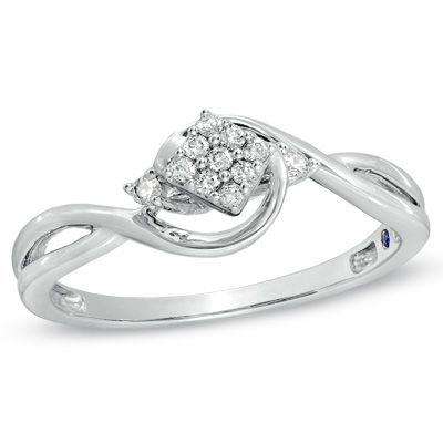Zales Composite Diamond Accent Square Promise Ring in 10K White Gold h2CrWBv