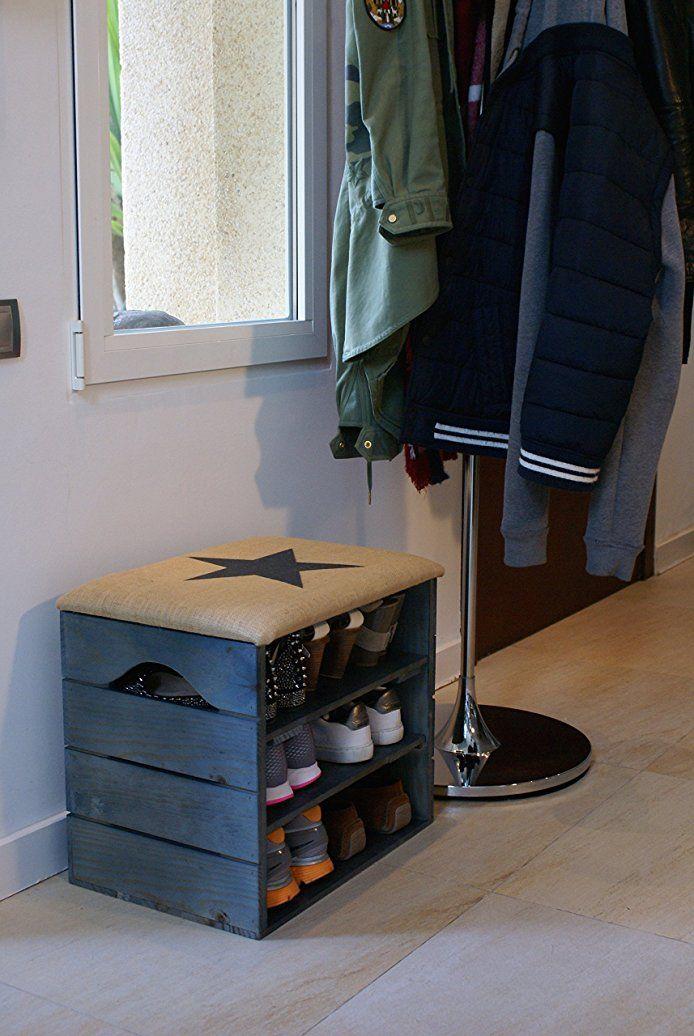 MEUBLE CHAUSSURES (BLEU PÉTROLE), BANC de RANGEMENT pour Chaussures