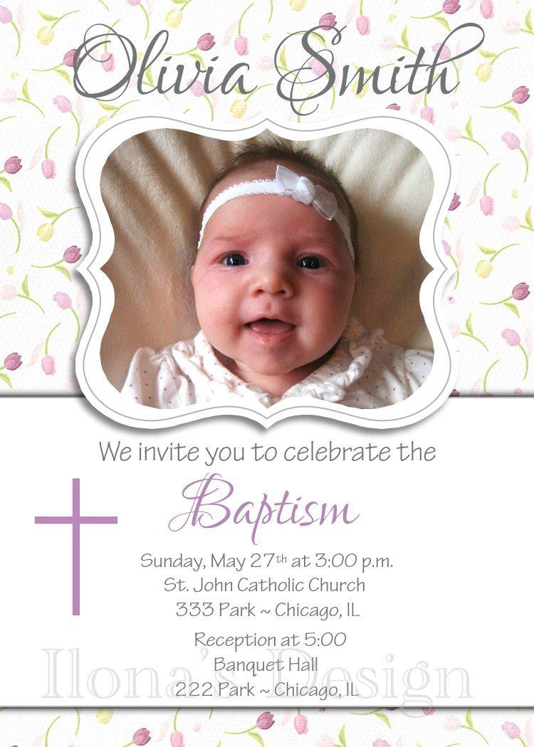 floral girl baptism invitation purple baptism invitation first