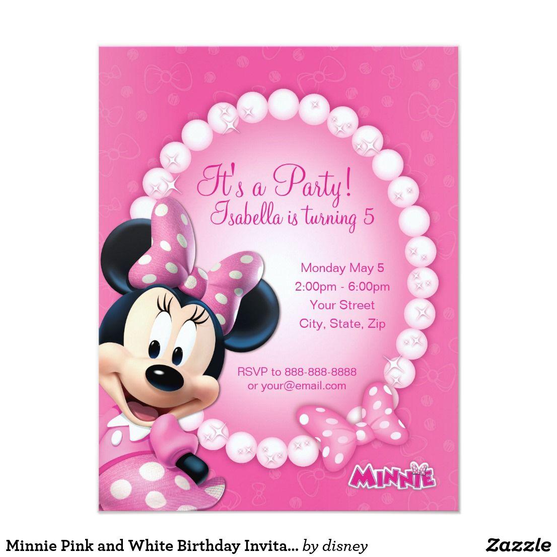 minnie pink and white birthday invitation kids birthday party