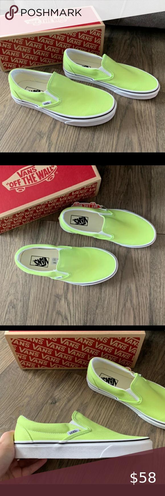 Vans classic slip on sharp green shoes