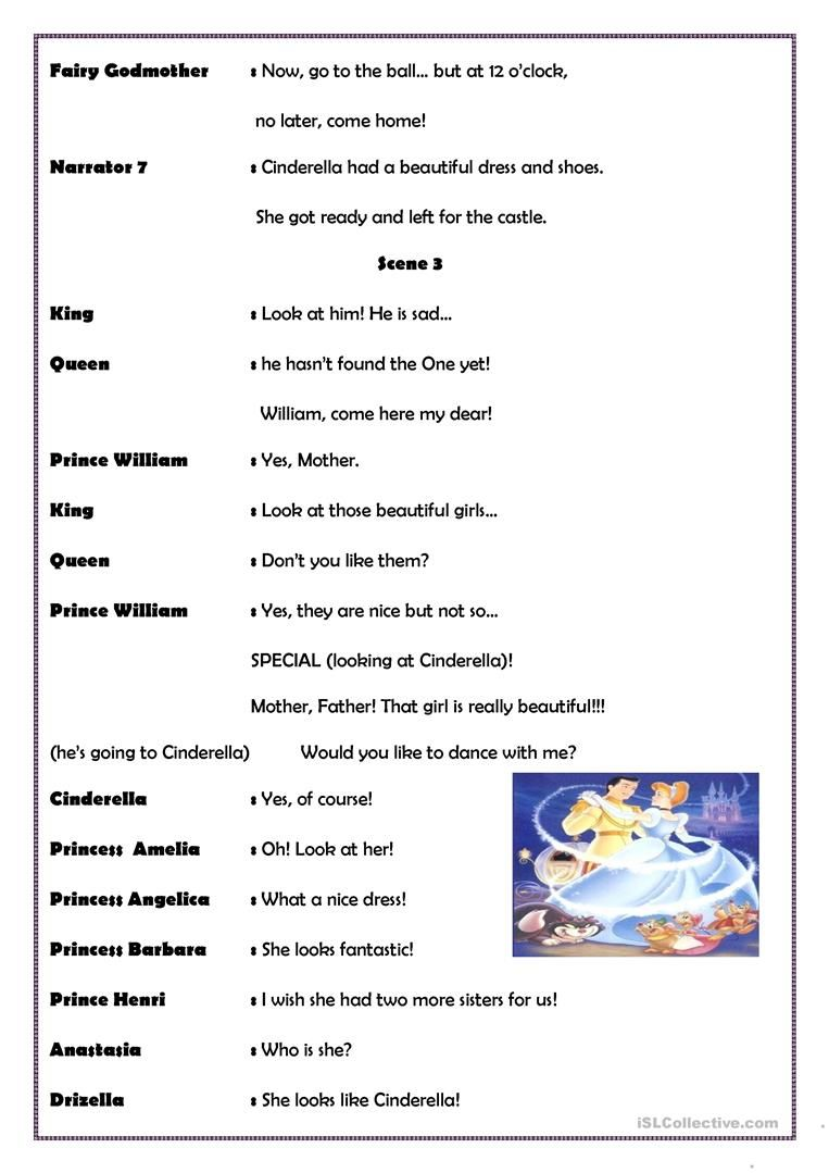 Cinderella English Esl Worksheets For Distance Learning And Physical Classrooms Reading Comprehension Lessons Play Scripts For Kids Acting Lessons [ 1079 x 763 Pixel ]