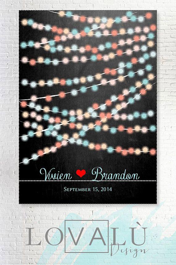 Matrimonio alternativo libro per ospiti_ giallo rosa blu rosso_Matrimonio Guestbook luci_Scegli i tuoi colori e il numero dei lampadine