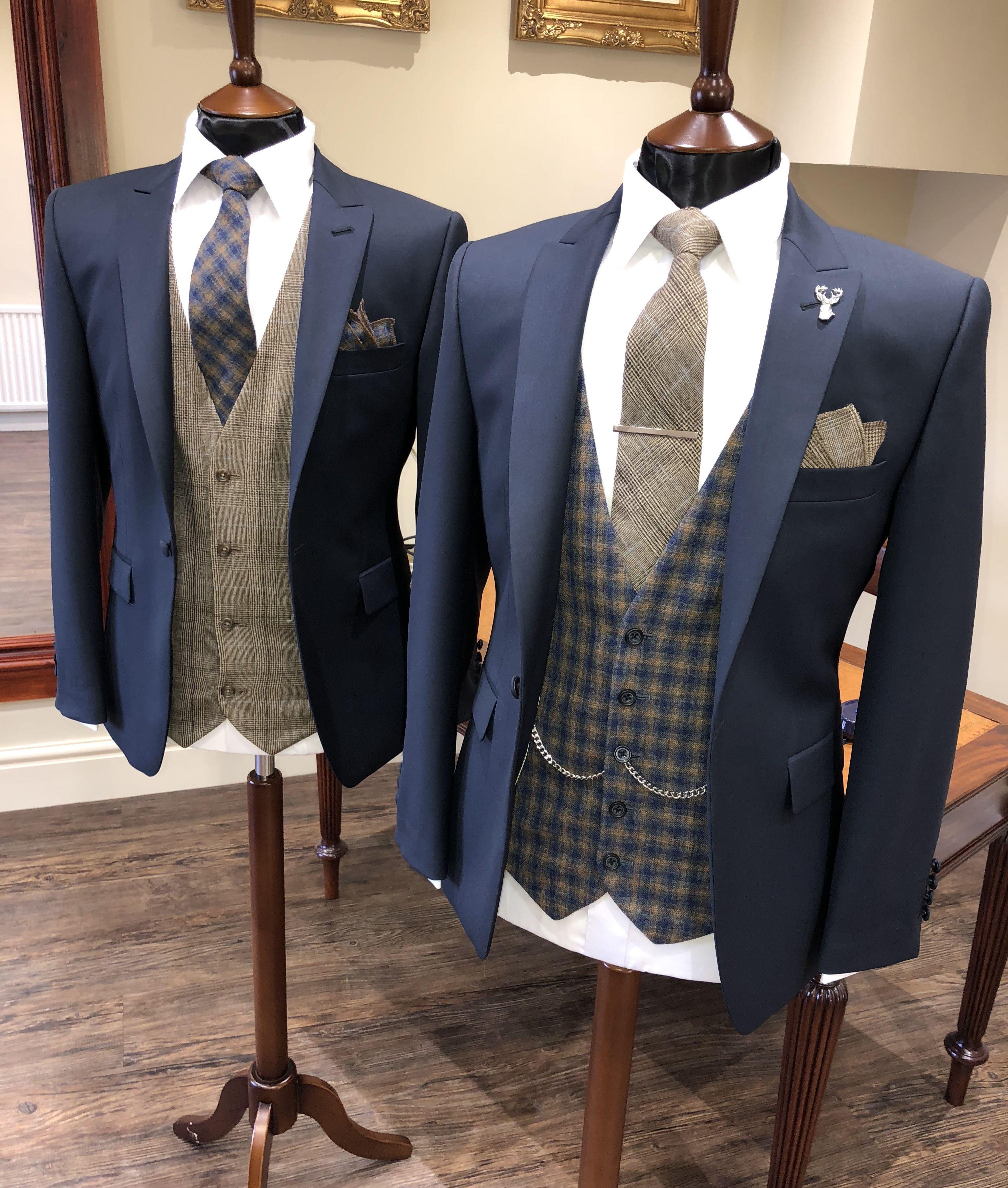Groom Groomsmen Look Navy Jacket Brown Tweed Waistcoat