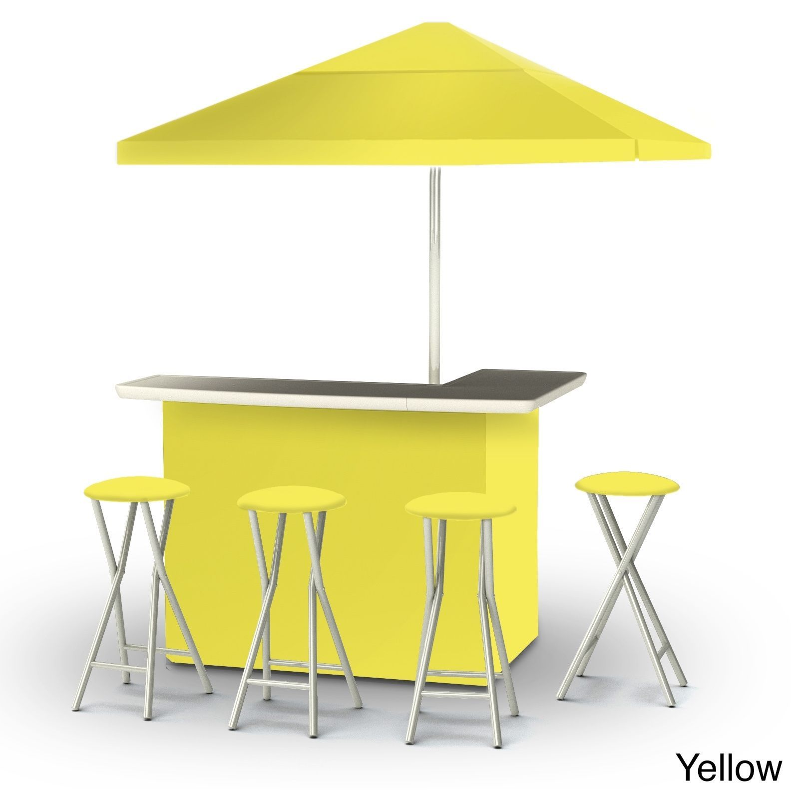 Best of Times Solid Colors Portable Deluxe Bar (Solid Yellow), Size 3-Piece Sets, Patio Furniture (Polyester)