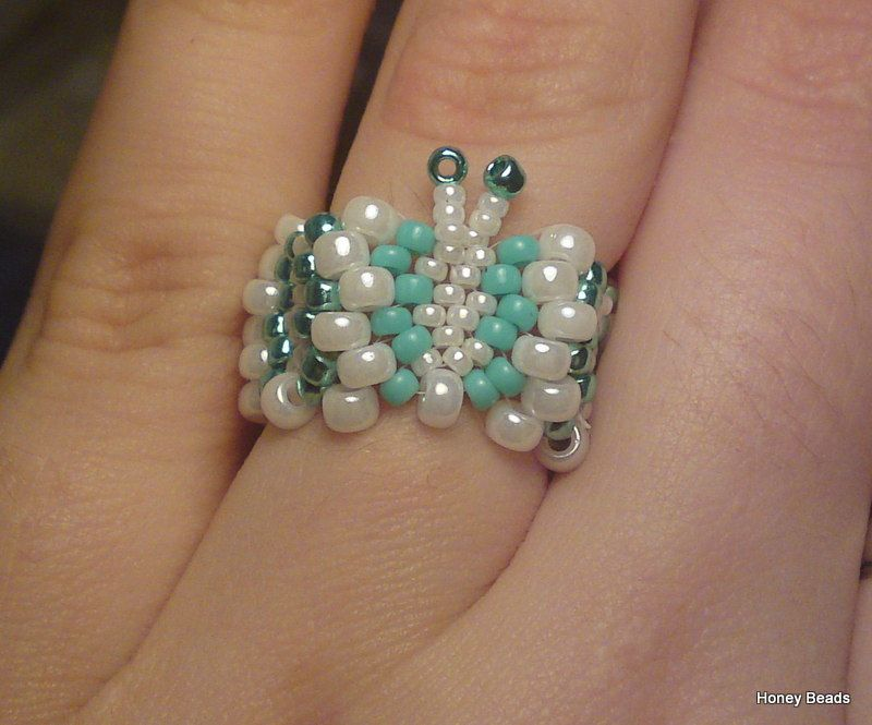 Beaded Butterfly ring (Tutorial on Youtube)   jewelry diy   Diy