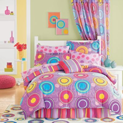 Bailey wants a purple room in the new house. She already has multicolored, polka dot EVERYTHING... I think this fuses the two together!