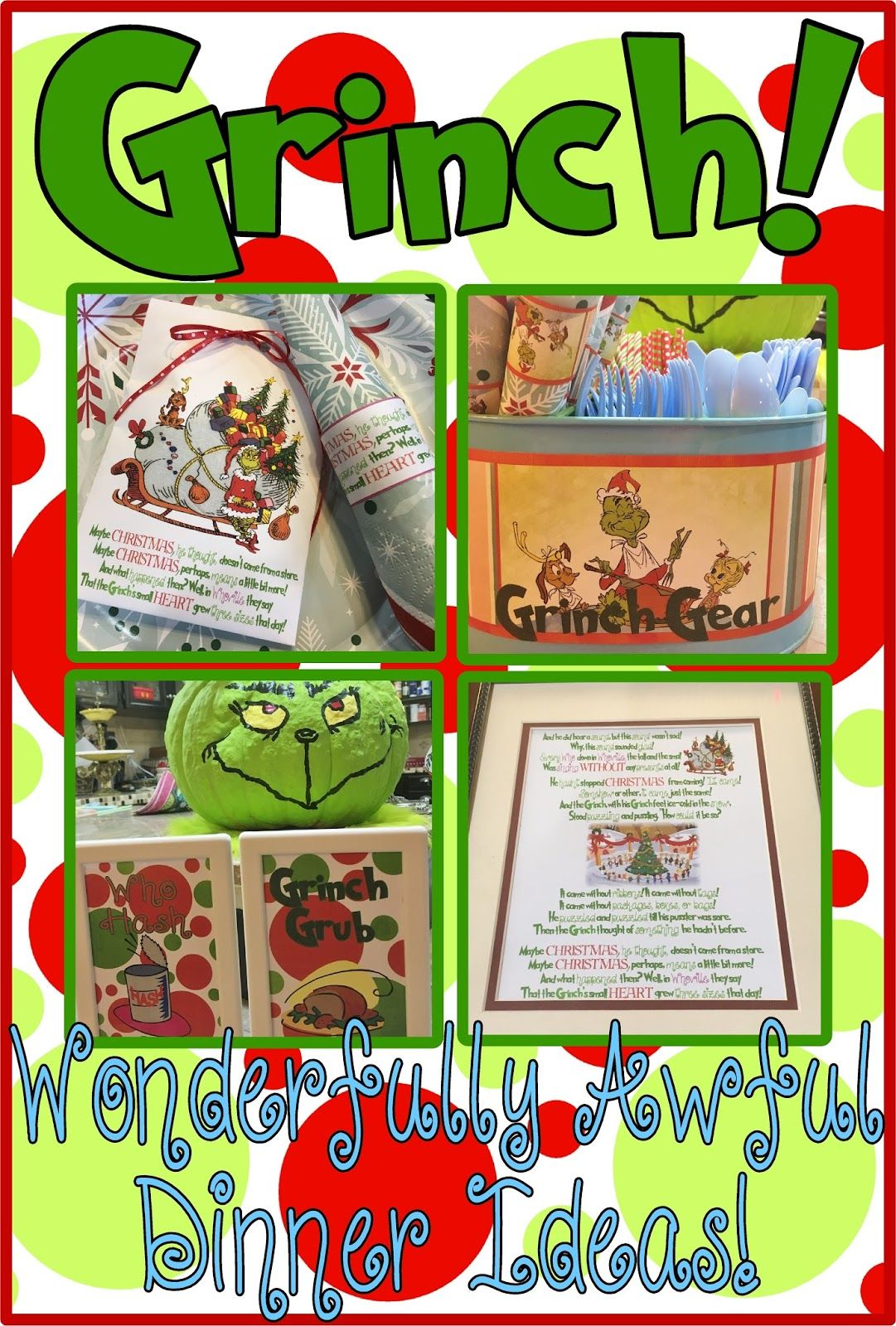 Free Grinch Mas Printable Treat Bag Napkin Rings Serving