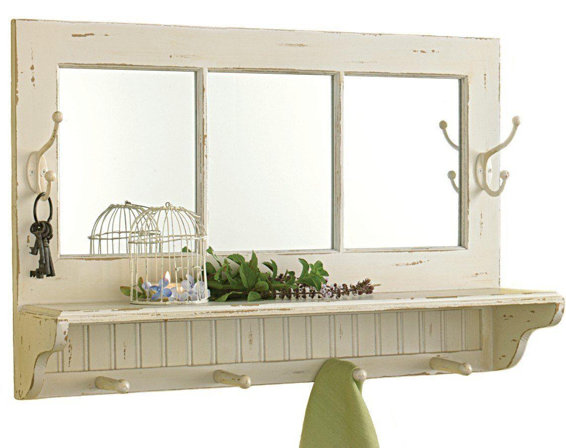 Shabby Chic Mirror Shelf With Hooks