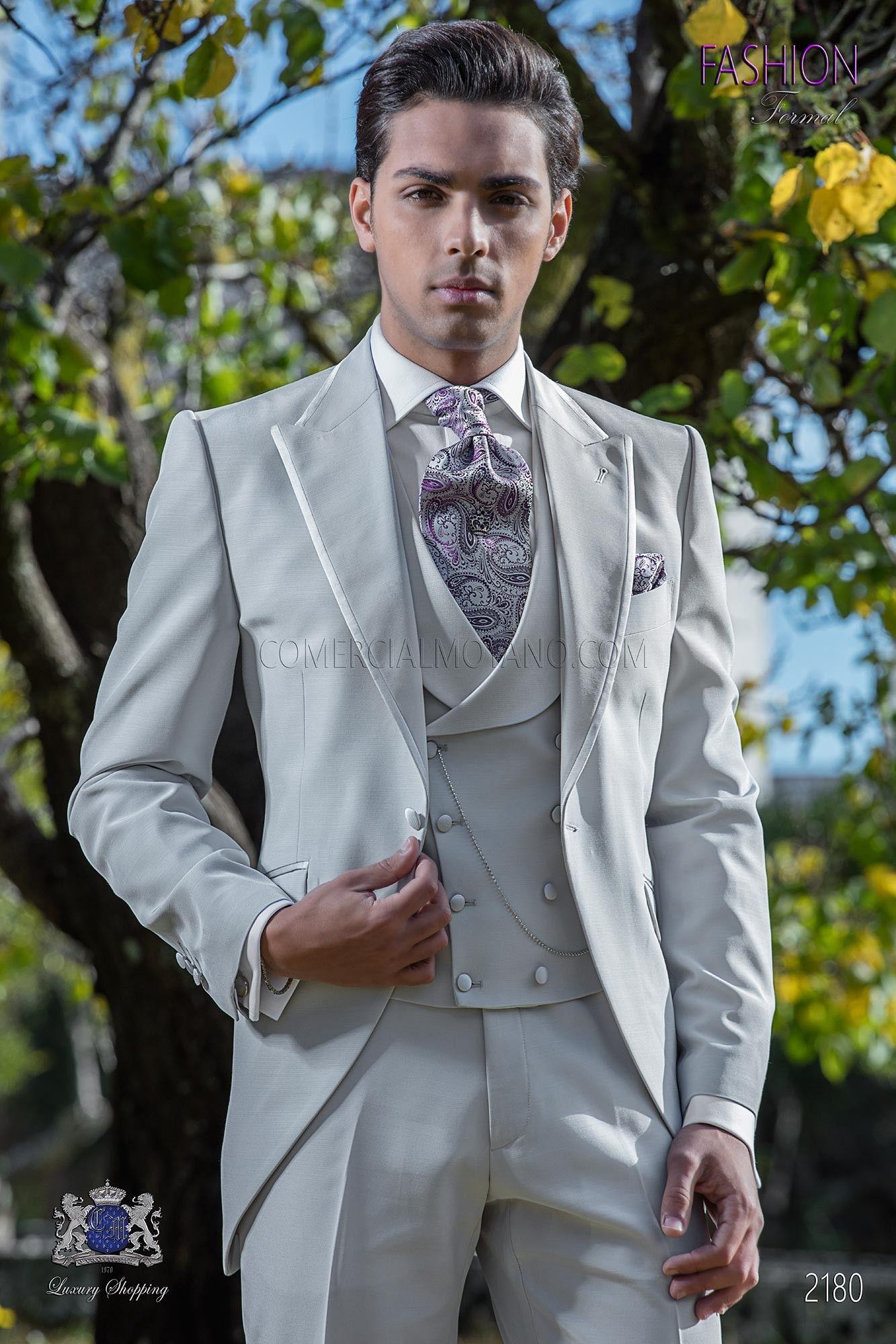 Costume de mariage levité Gris perle microdesign | Frock coat and ...
