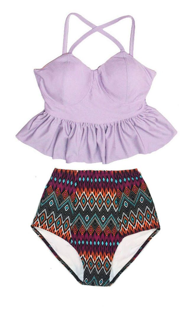 e46a97cb21155 Lavender Lilac Long Peplum Tankini Top and Aztec Tribute Handmade High  Waisted Waist Bottom Swimsuit Bikini Bathing suit Swimwear S M L XL by  venderstore on ...