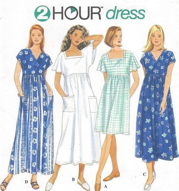 90s Plus Size Easy 2 Hour Dress Pullover House Dress Kimono Sleeves ...