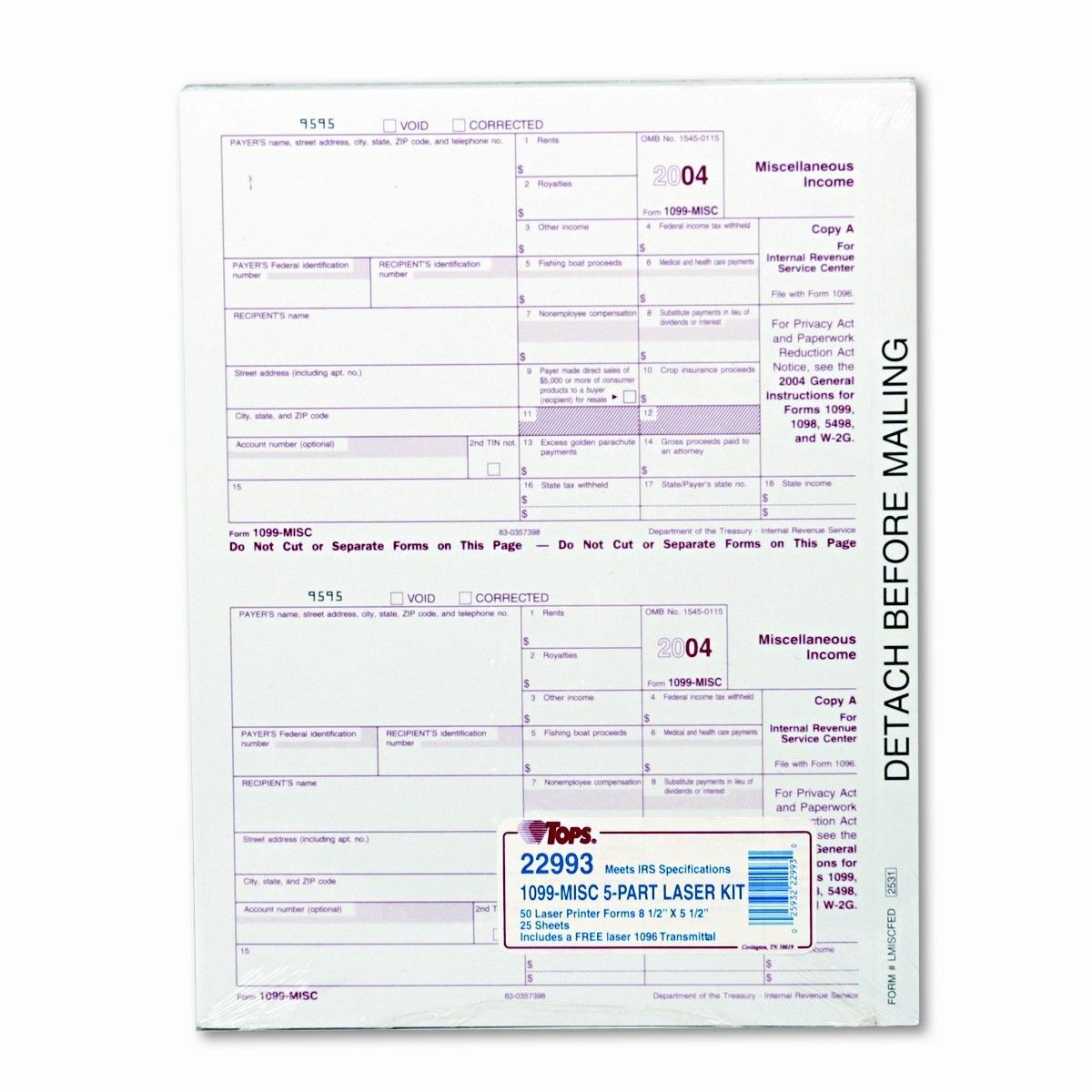 Tax Misc Income  X  Carbonless  Loose Form Sets