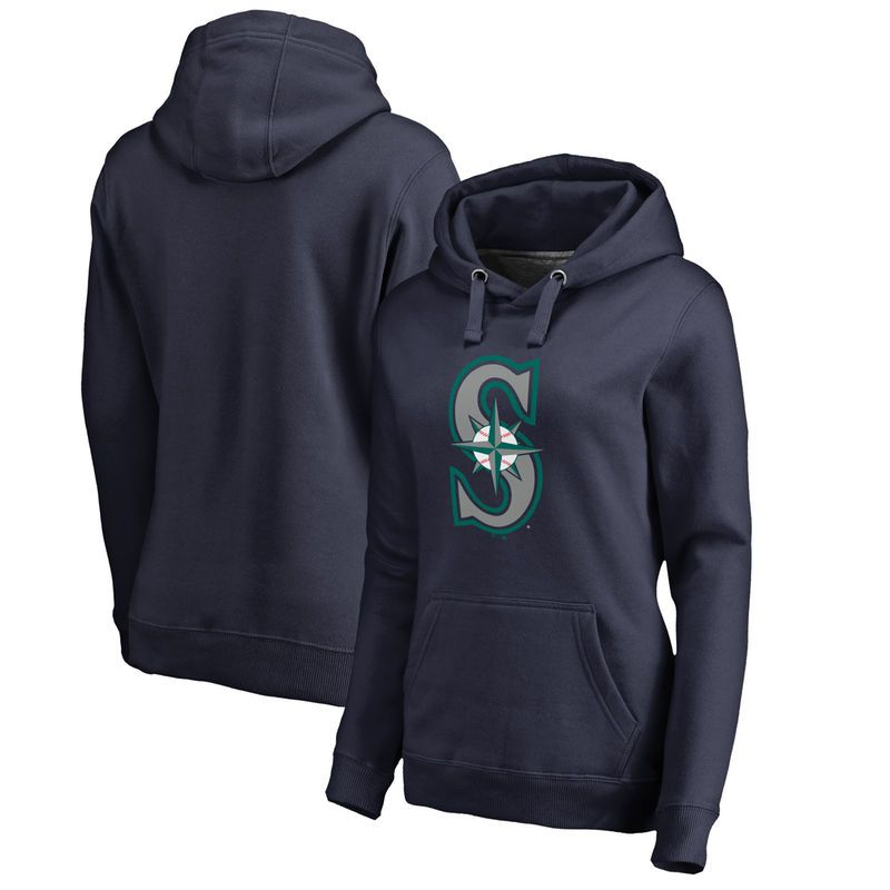 Seattle Mariners Women's Plus Sizes Primary Logo Pullover Hoodie - Navy