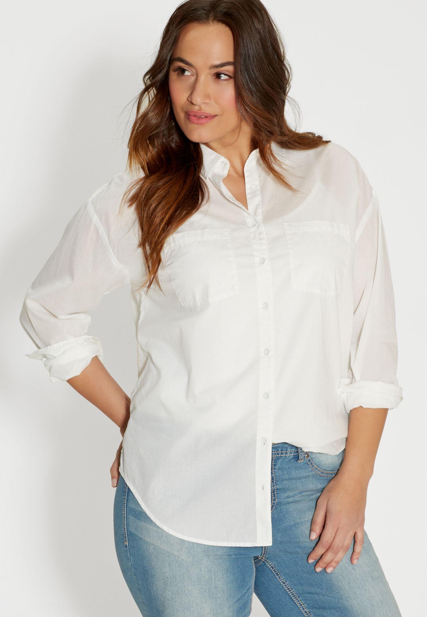 White Boyfriend Shirt Plus Size