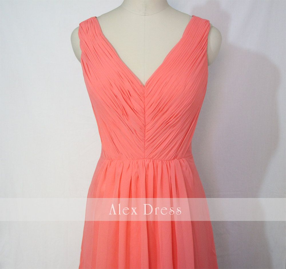 Coral bridesmaid dress short vneck coral chiffon dresscustom dress