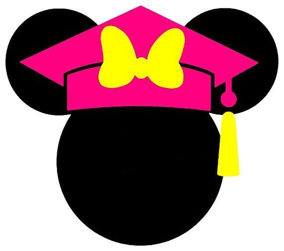 Mickey mouse head minnie. Silhouette clip art graduation