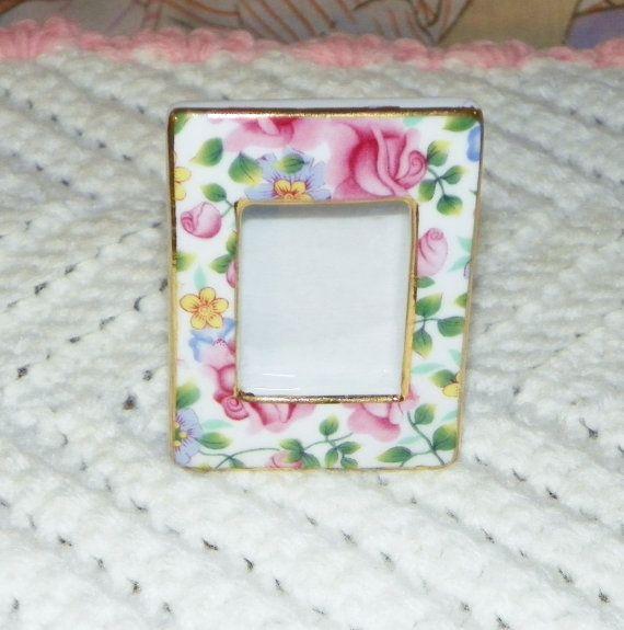Mini Porcelain Floral Frame by VintageRainbowShop on Etsy