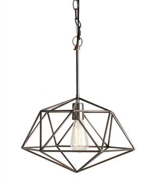 This angular fixture comes in both wide and tall options. Choose the tall version for lighting over a kitchen island or a bar, and hang the wider one in a dining room. Certainly sophisticated, these diamond-shaped cage lights offer an elevated feeling when hung from the ceiling.