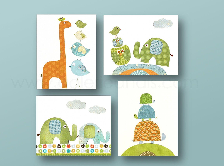 Childrenu0027s Art   Baby Nursery   Nursery Wall Decor   Owl Giraffe Birds  Elephant Turtle Set Of Four In. Prints By GalerieAnais