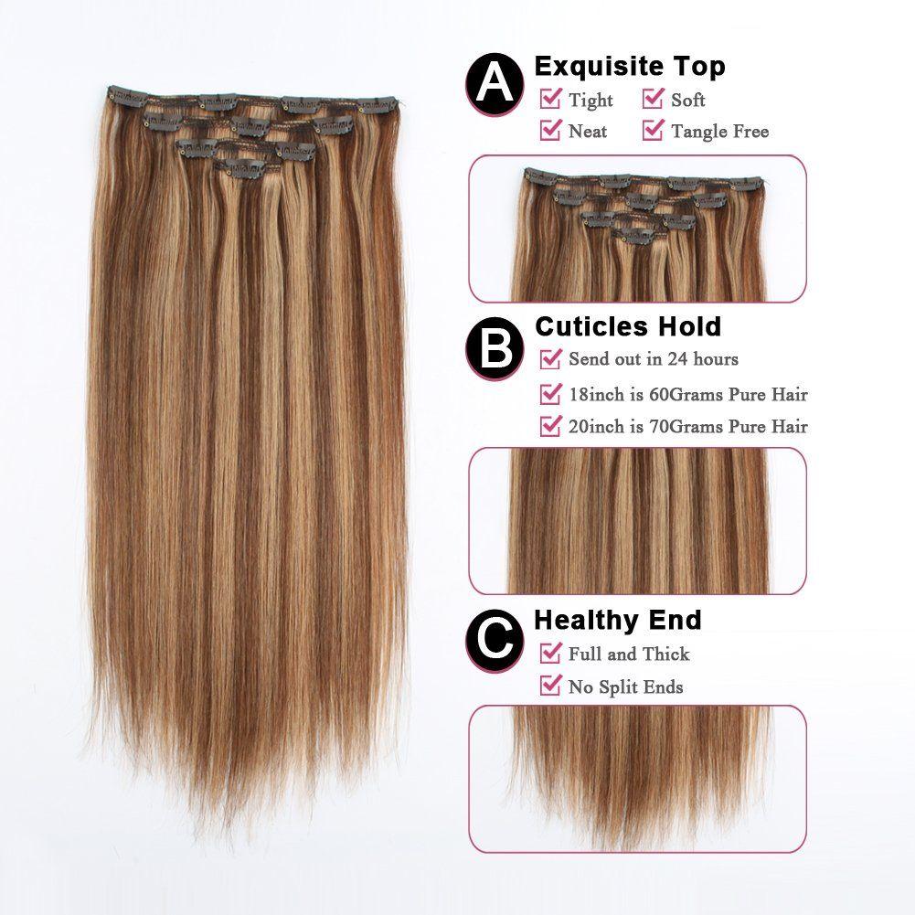 Sassina 80Grams/Set Clip in Human Hair Extensions Real